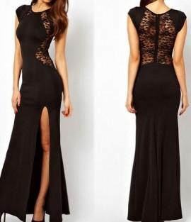 Duga crna haljina sa detaljima cipke