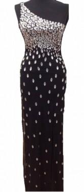 Duga haljina na jedno rame sa cirkonima