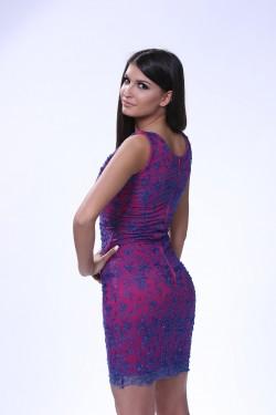 Kraljevsko plava haljina sa ciklama podlogom