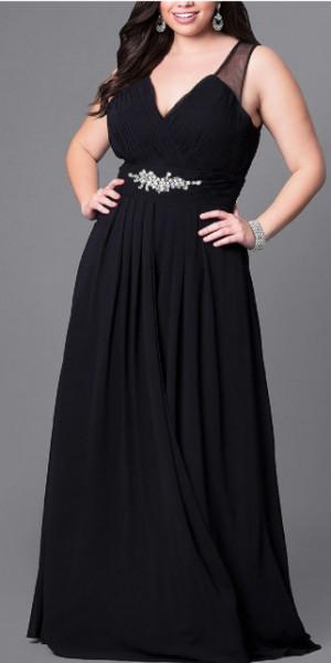 Svecana crna haljina za punije zene sa cirkonima