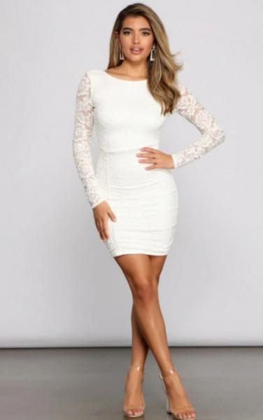 Bela cipkasta haljina za vencanje sa golim ledjima