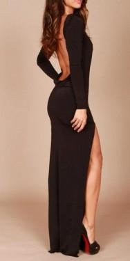 Crna duga haljina sa rukavima i golim ledjima