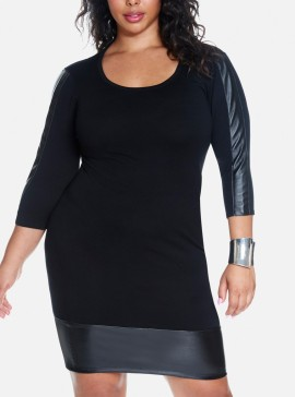 Crna haljina sa imitacijom kože