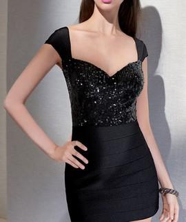 Crna svecana haljina sa diskicima