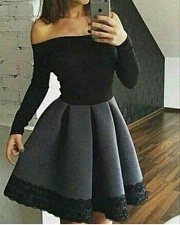 Crno siva haljina sa cipkom