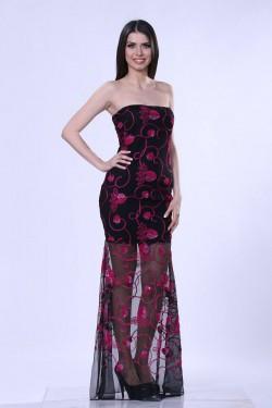 Duga crna haljina sa mrezicom i diskicima