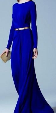 Duga plava haljina