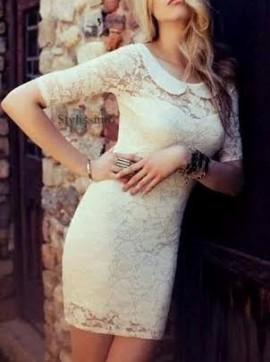 Prljavo bela cipkasta haljina sa kragnicom