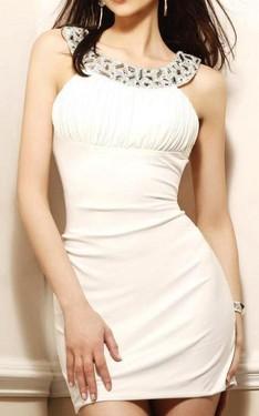 Bela haljina sa kamenčićima