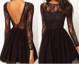 Crna cipkica haljina sa tilom