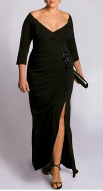 Crna duga haljina sa cipkom na struku za punije dame