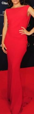Slika Duga crvena haljina golih ledja