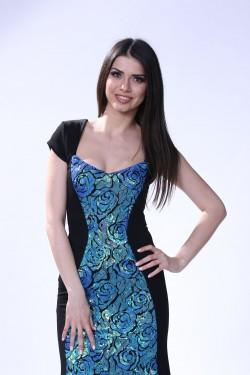 Duga haljina sa plavetno  svetlucavim ruzama