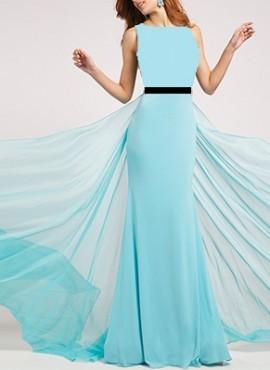 Duga plava haljina sa tilom na ledjima