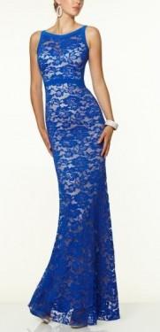 Duga plavo bela cipkasta haljina