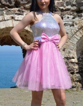 Haljina za maturu srebrno roze sa masnom
