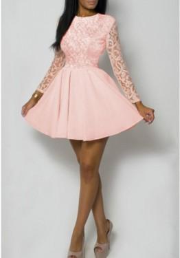 Roze haljina sa cipkom 404