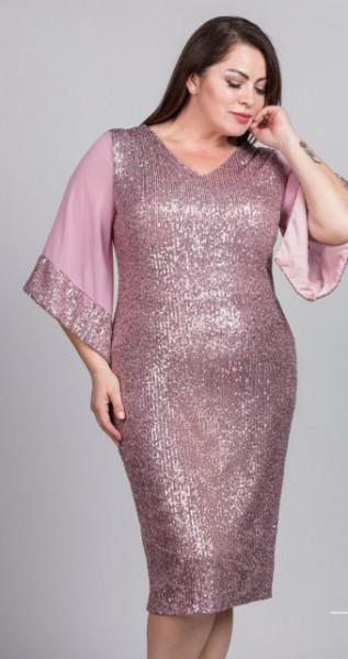 Roze sljokicava haljina za punije dame