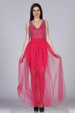 Ciklama haljina sa tilom  i cirkonima