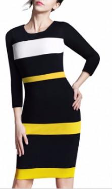 Crna haljina sa zuto belim detaljima