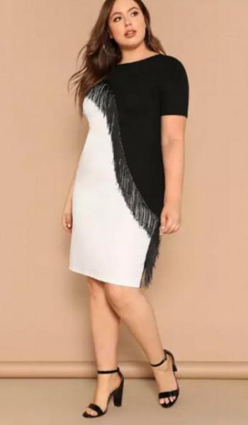 Crna svecana haljina za punije zene