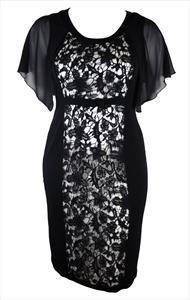 Crno bela cipkasta haljina za punije dame