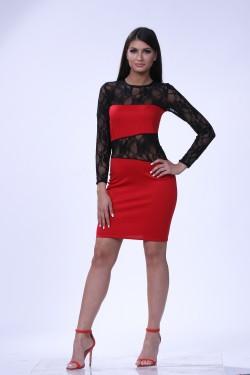 Crno crvena cipkasta haljina