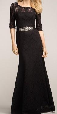 Duga crna haljina sa cipkom i cirkonima na struku