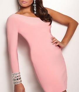 Neobicna roze haljina na jedno rame sa cirkonima