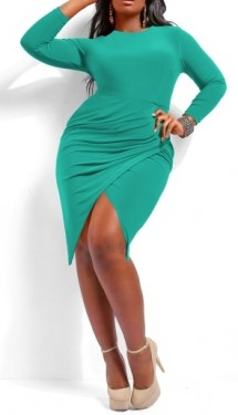 Tirkizna haljina sa neobičnim naborima