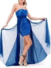 Duga kraljevsko plava haljina od diskica i muslina