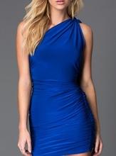 Plava haljina na jedno rame sa masnom