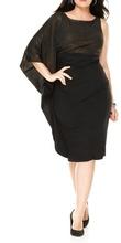 Crna haljina na jedno rame sa zlatnim strasom