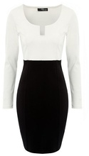 Crno bela haljina sa neobicnim izrezom