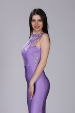 Duga lila haljina