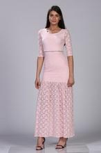 Duga roze haljina sa cirkonima na struku