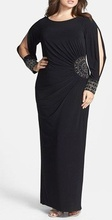 Duga crna haljina sa secenim rukavima i cirkonima