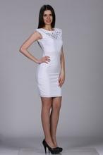 Bela haljina sa neobičnim sečenjima i cirkonima