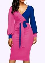 Plavo pink dnevana haljina