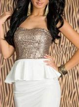 Bela haljina sa krnerom i zlatnim diskicima