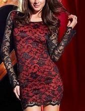 Crna cipkasta haljina sa crvenom podlogom