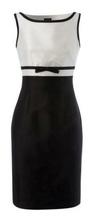 Crna dnevna haljina sa belim detaljima