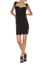 Crna haljina sa bocnim eko-koznim detaljima
