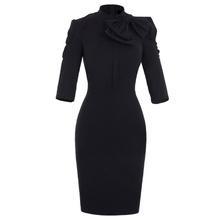 Crna haljina sa masnom i 3/4 rukavima