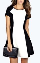 Crno bela dnevna haljina sa rukavima
