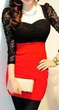 Crvena haljina sa detaljima cipke