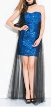 Duga haljina sa kraljevsko plavim diskicima i crnim tilom