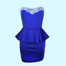 Kraljevsko plava haljina sa cirkonima