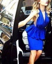 Plava haljina sa karnerom i golim ledjima
