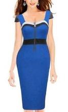 Kraljevsko plava haljina sa rajfeslusem na srce izrezu